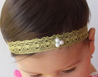 Gold Headband, Toddler Headband, Baptism Headband, Infant Headbands, Gold Baby Headband, Gold Headbands, Lace Headband, Baby Headband