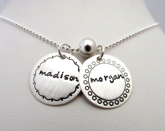 Personalized 2 Disc Sterling Silver Necklace with Fancy Borders