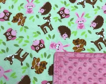Woodland critters child's blanket