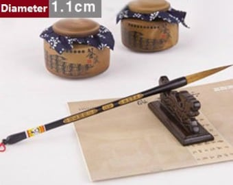 Free Shipping 7.6x1.1x31.5cm Extra Long Tip Weasel Hair Brush / Size No.1 - Wood Handle - Oriental Calligraphy Painting - 0049N1