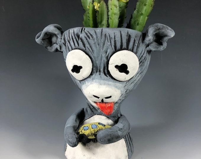 Billy the Kid // Goat with toy car // Planter // Ceramic // Succulent Pot // Animal // Kid // Cute // Small Sculpture // Home Decor // Gray