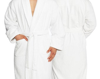Personalized Men's XL Terry Bathrobe, 100% Pure combed Turkish cotton | Full Ankle Length, Big & Tall, Heavy and Soft.