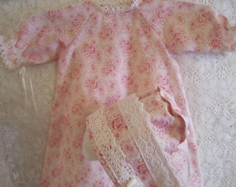 Rose and Lace Baby Day Gown and Bonnet Set