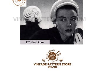 "Ladies 1950s, Tucked clip cap hat - 22"" Head Size - Vintage PDF Knitting Pattern 1208"