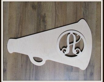 """Megaphone Door Hanger with Monogram Letter - Unpainted Wood - 22"""" size - Bedroom Dorm Teen Decor - Wood Letter - Wall Hanging - Cheerleading"""