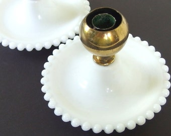 2 Vintage 1950's Candlesticks, Milk Glass and Brass Candle Holders