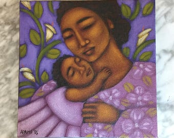 Tamara Adams Signed '05 Original Acrylic on Canvas Mother and Child Painting