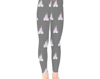 Kids Cinderella Castle Leggings // Disney Leggings // Castle Leggings // Princess Leggings // Walt disney world