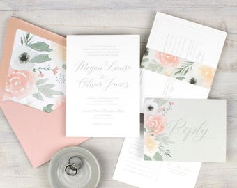 floral wedding invitations classic wedding invitation suite boho wedding watercolor floral pink wedding pink and gray printed invitations