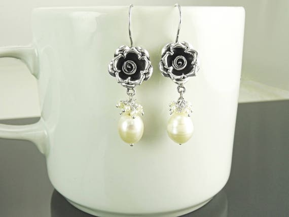 Flower, ROSE, Sterling Silver, White, Water Pearl, Dangle Earrings, Wedding, Mariage, Vintage Style earrings, 925 Earrings, Gift jewelry.