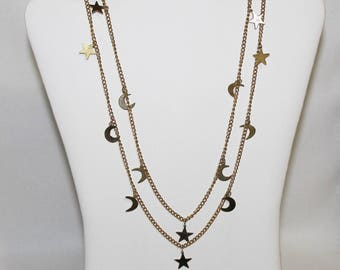 Long Crescent Moon and Stars Necklace