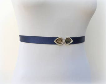 Navy blue leaf belt. Silver rhinestone leaf sash belt. Dark blue dress belt. Bridal sash belt. Elastic waist belt.