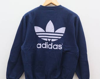 Vintage ADIDAS Trefoil Sportswear Run Dmc Big Logo Blue Sweater Sweatshirt