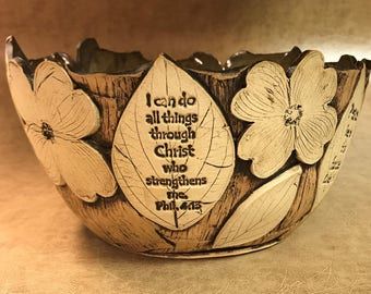 Large Scripture Dogwood Bowl 52