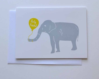 Party Elephant - Birthday Card (Free UK delivery)