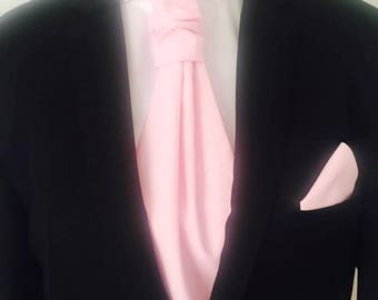 SET tie Ascot (Ascot) and solid pink outfit - man pouch