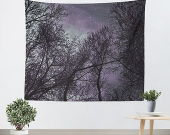 Wall Hanging - Tapestry - Purple - Trees - Wall Tapestry - Black - Sky - Dorm Tapestry - Tapestries - Gothic - Dark Purple - Purple Sky