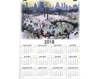 Skating in Central Park 2018 Calendar Art Print Poster
