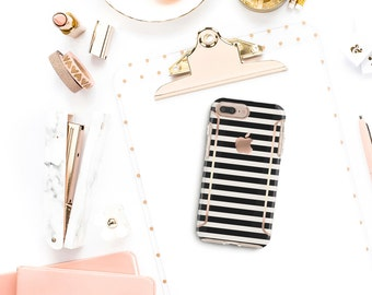 Black Stripes iPhone 8 Case iPhone 8 Plus Case iPhone X . Kate Spade Inspired . Rose Gold Case . Otterbox Symmetry