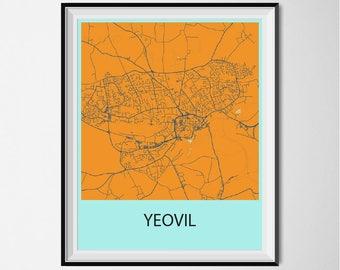 Yeovil Map Poster Print - Orange and Blue