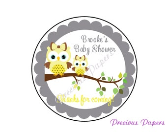 """20 - 2"""" round Personalized PRINTED yellow owl baby shower sticker gray and yellow owl baby shower favor stickers"""