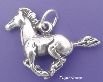 MUSTANG Charm .925 Sterling Silver Galloping HORSE Pendant - lp1835