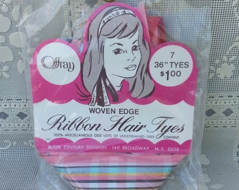 Vintage Offray Ribbon Hair Tyes Unopen Hipster Hair Ties