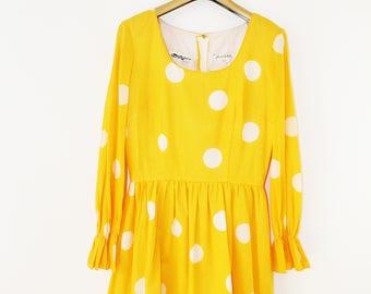 Vintage Yellow Polka Dot Dress