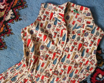 Vintage 1950s Cotton Day Dress - Novelty Print Pepper Grinder Classic 50s Dress