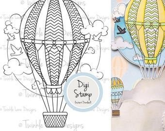Hot Air Balloon, Digital Stamp, Balloon Clipart, Balloon Print, Printable, Aircraft, Transport, Colouring Page, Clouds, Flight, A5 Sheet