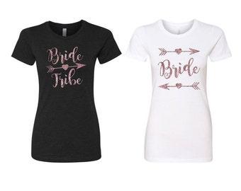 Bride Tribe T-Shirt TShirt Tee Shirt Top Bachelorette Party White Black Rose Gold Glitter Bridal Shower Wedding Boho Beach Wedding Hen Party