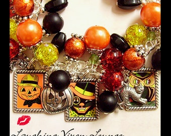 Halloween Jewelry - Halloween Necklace - Halloween Bracelet - Retro Halloween Charm Bracelet - Fall Jewelry - Fall Bracelet