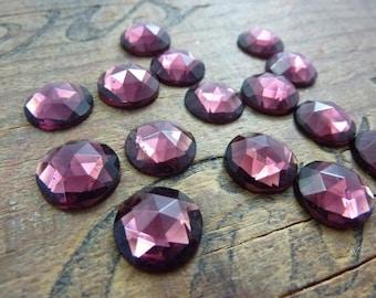 Vintage Rhinestone Rose Cut 13mm Amethyst Glass Rhinestone (4) A3C10