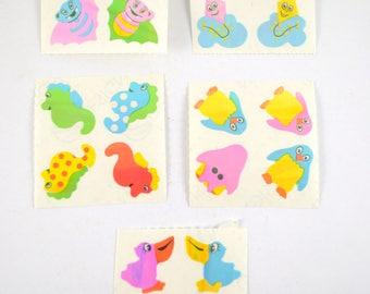 Vintage Pearl Finish Stickers, 90's Rare Stickers, Vampire Bat Sticker, Penguin Stickers, Seahorse Sticker, Duck Sticker, Kite Sticker