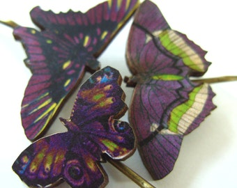 Purple and lime green, wooden butterflies, purple butterfly, butterfly, hair slides, set of 3, by Newellsjewels on etsy