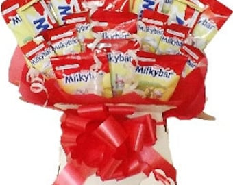 Milky Bar Chocolate Bouquet Tree Hamper Personalised Birthday, Xmas, Favours