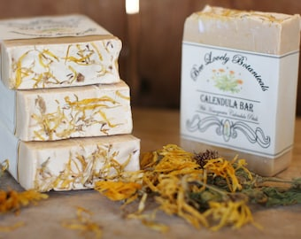 Natural Soap with Calendula Petals || Honey Soap with Calendula Flowers || Handmade Herbal Soap