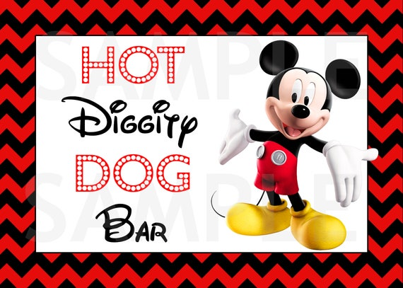 Free Printable Hot Diggity Dog Bar Sign