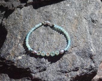 """Czech Glass and Aquamarine Friendship Bracelet - Gemstone Bracelet - """"Pookie"""""""