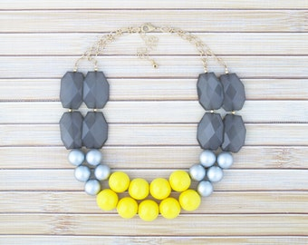 Yellow and Gray Statement Necklace, Yellow Multi Row Beaded Necklace, Yellow and Grey Bib Necklace, Multi Strand Chunky Necklace