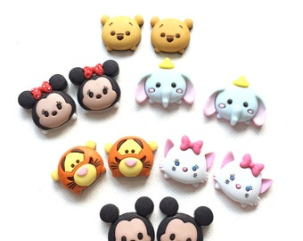 Tsum Tsum Stud Earrings, Cute Disney Characters, Mickey, Minnie, Pooh, Tiger, Dumbo, Marie, Jewelry