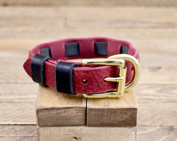 Leather dog collar,  Personalised collar, FREE ID TAG, Collar, Handmade leather collar, Burgundy collar, Black, Two colours collar.