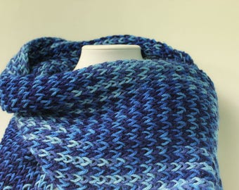Blue Scarf-Blue Infinity Scarf-Wide Round Scarf-Circle Scarf-Lightweight Scarf-Winter Scarf-Hand Knitted Scarf-Knitted Cowl-Women Scarf-Cowl