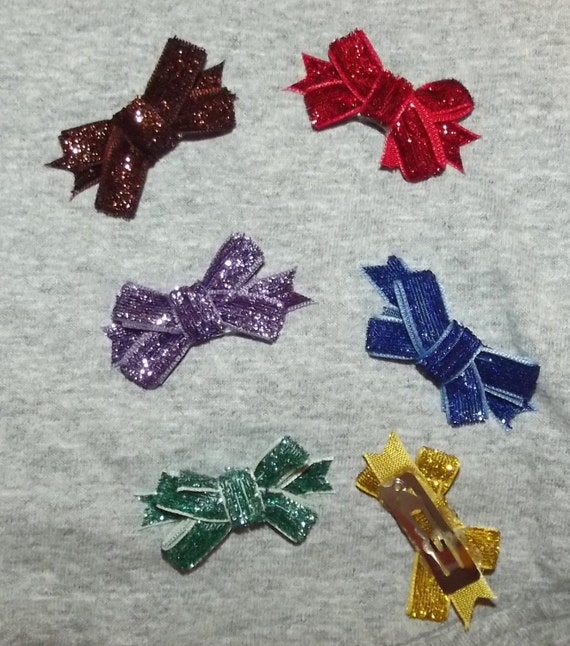Puppy Bows ~ dog hair SMALL pet snap clips GLITTER topknots (fb48)