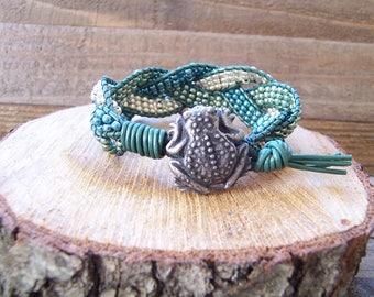 Frog Beaded Braided Leather Wrap Cuff Bracelet, Beaded Leather Cuff, Frog Bracelet, Frog Jewelry, Leather Jewelry, Gift For Frog Lover, Wrap