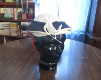 VINTAGE Cocktail or Church HAT- Cream and Navy With Netting, FEATHERS and a Hat Pin - Great Retro Look