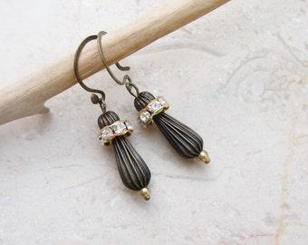 Brass Drop Rhinestone Earrings
