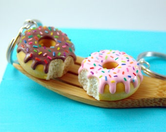 Donut Keychain with Rainbow Sprinkles // Food Keychain // MADE TO ORDER