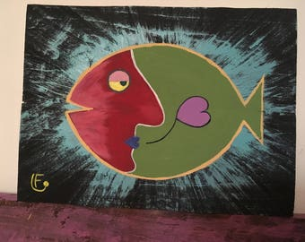 Fish paintings on wood