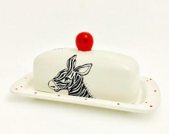Zebra Single Butter Dish.Colored Knob.Knobbed. Zebra. Butter. Handmade by Sara Hunter